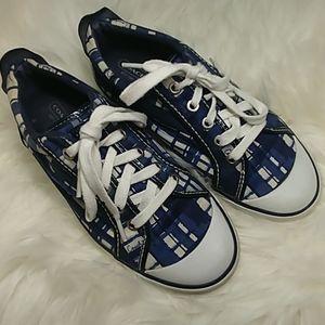 Coach Barrett Sneakers navy plaid size 8 1/2